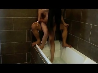 Chinese couple having sex and swallow in bathtub
