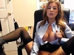Naughty secretary big tits playing with dildo