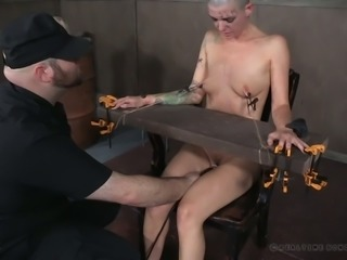 Bald headed bitch Abigail Dupree is punished by pussy hater