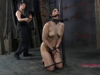 Alluring slave ass getting spanked while yelling in BDSM