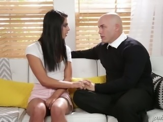 Raven haired spoiled slut Gina Valentina wants that bald dude to soothe her with his meaty cock