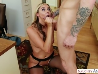 Hot and horny secretary Allie Eve Knox gets fucked in the office