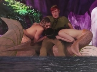 Cute mermaids are great at sucking an engorged member