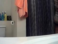 SpyCam! Ebony babe wifey undressing for shower!