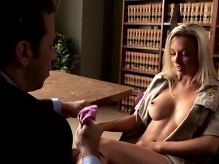 Blonde in uniform loving her shaved pussy getting banged roughly