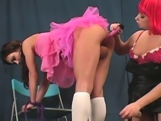 Spicy teens penetrate the biggest strap-on dildos and spray