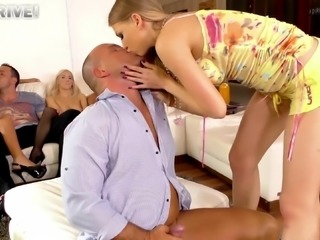 A relaxing party quickly spiced up with the cowgirl cock riding