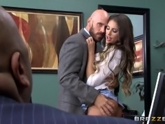 Bald guy provides the perfect-looking brunette with his large cock