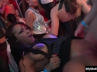 Hardcore group sex party featuring insatiable hookers