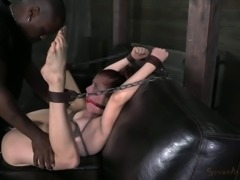 Tied slave getting screwed with black cock hardcore in BDSM