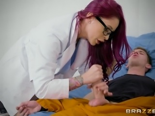 Danny enrolled at the receiving department of the hospital, complaining of heart pains and rapid pulse. Fortunately, attentive and caring doctor Monique Alexander, quickly determined the cause of his ailment. He just have not had sex for a long time and with such a huge dick, it's very dangerous...
