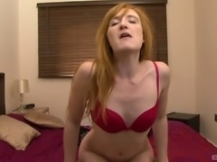 Skinny redhead moans while finally tasting the chocolate penis