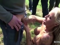German Teen in Outdoor Gangbang with 13 Stranger