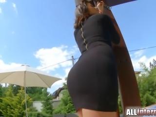 All Internal stunning brunette sucks and fucks before cumsho