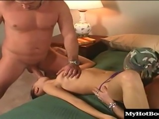 Gorgeous slut gets pounded hard in a MMF threesome