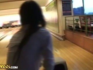 They go to the public restroom for quick anal sex on POV