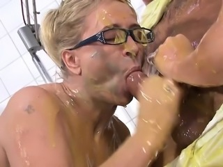 Hot blonde nurses fucked in slimy threesome