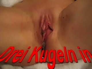 German amateur gal let to fuck her juicy bald pussy with a special toy