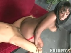 Cutie with two big black buttocks and the bald guy's white dick