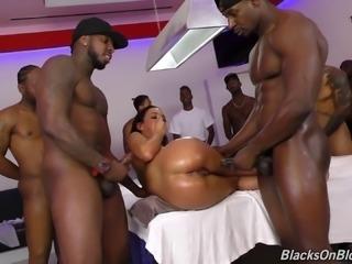 Chocolate guys attacking Amara Romani with their pulsating boners