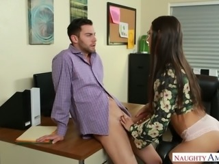 Super hot brunette secretary Lily Adams sucks her cute boss off in the office