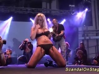 Blonde big breast german stepmoms first sexshow on public sexfair porn stage