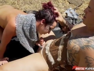 Part 1: Jada Stevens - Amazing sex board game. Battles and Sexy Warriors in wild lands