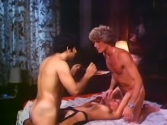Hairy white guys screwing naughty blonde bitch on the bed