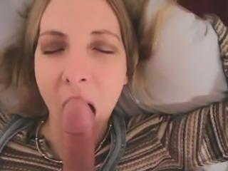 Horny hardcore slut enjoys giving POV blowjob and handjob