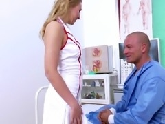 Alluring nice ass nurse in high heels loving her pussy licked