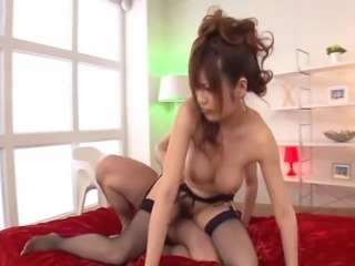 Japanese babe in nylon stockings gets facial cumshot in group sex