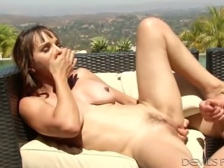 Kinky hubby fucks his sweet dark haired bitch Cytherea on terrace tough