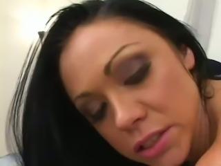 Appetizing black haired MILF Cherokee gets her fanny slammed in multiple poses rough