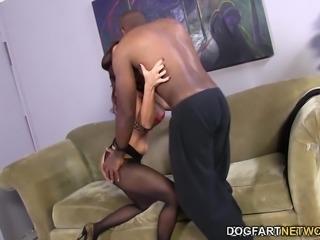 Janet Mason Tries Mandingo's Huge Black Cock