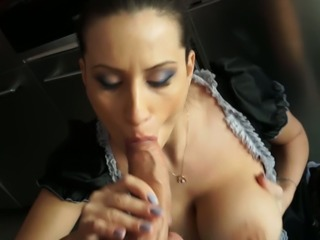 Super hot maid with big boobies sucking dick balls deep in the kitchen
