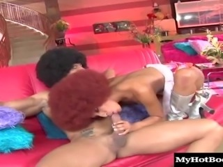 Redhead with an afro enjoys every second of the hard spooning