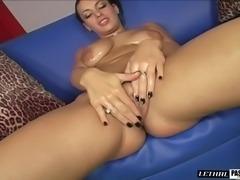 Big nipples brunette giving dick handjob then banged hardcore