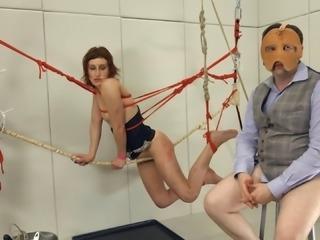 Bondage fetish blowjob scene with kinky bitch Mistress Margot
