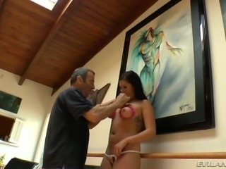 Bosomy Asian cutie London Keyes let her white man attach pins to her nipples