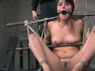 Raquel Roper is gagged with that gorgeous gag and she is totally tied up