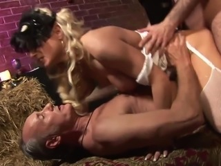 Hot chick in red stocking rides cock while her girl friend watches