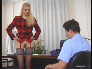 Slutty blonde Candy gets her ass fucked hard in an office