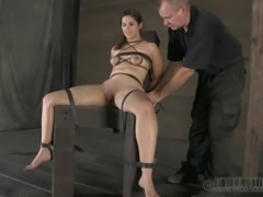 Yells as bondage slave pussy gets drilled with toy in BDSM