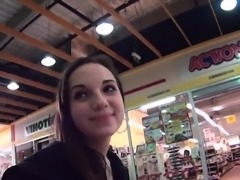 Stellar czech sweetie is teased in the supermarket and naile