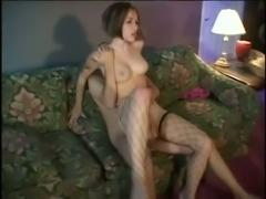 Leggy dark haired girlfriend in hot fishnets got her anus stretched in...