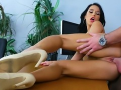 Leggy raven haired cutie in heeled shoes Megan Rain gets fucked on office...