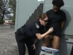 Chubby Female Cops Outdoors Sucking On Great Big Black Dick