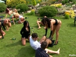 Clothed chicks arranged mad group sex orgy outdoor