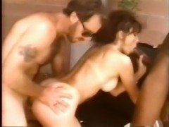 Filthy classic brunette milf surrounded by two guys