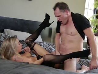 Gorgeous blonde filly Kat Dior has her hairy pussy pounded hard